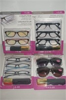 LOT OF 4 PACKS READERS AND SUNGLASS READERS +3.00