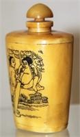Antique Oriental Scrimshaw Snuff Bottle Porno