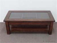 Distressed Wood Glass Display Top Coffee Table Asset