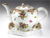 A rare Bristol hard-paste porcelain teapot, cover & stand, decoration similar to Ludlow service, circa 1775