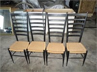 4 ladder back cane bottom chairs