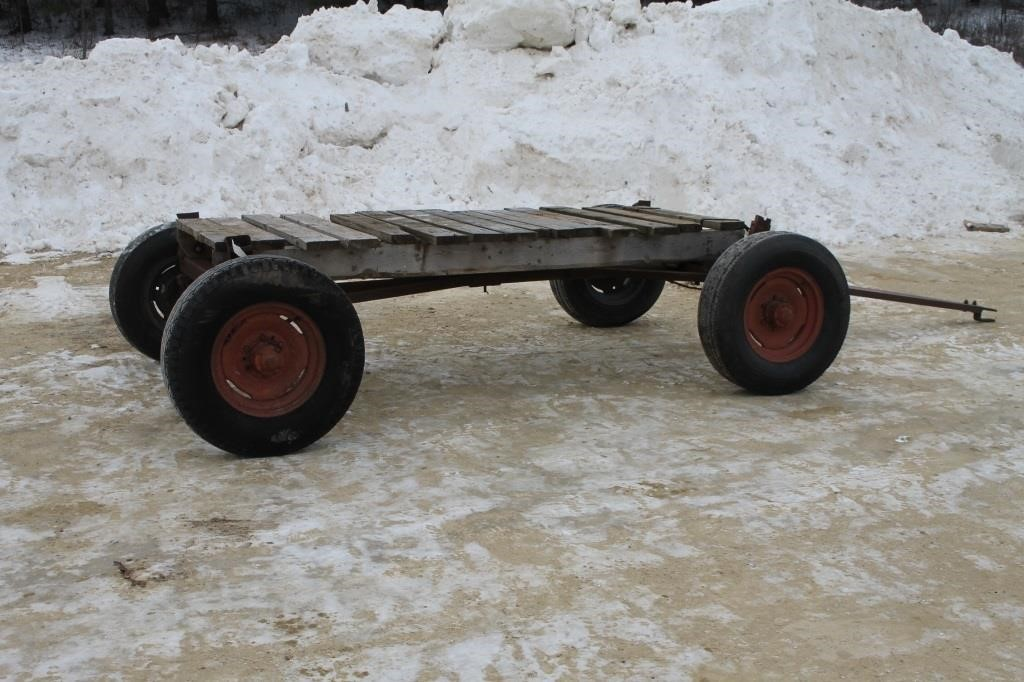 Wagon Running Gear With Small Wooden Deck Spencer Sales