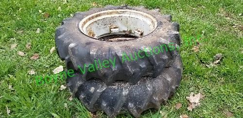 Small Tractor Tires With Rims 11 2x24 Boyne Valley Auctions Inc