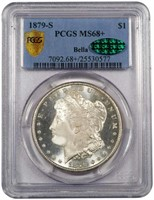 $1 1879-S PCGS MS68+ CAC EX BELLA COLLECTION