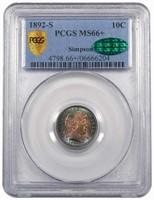 10C 1892-S PCGS MS66+ CAC EX SIMPSON
