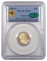 10C 1906-S PCGS MS66 CAC EX SIMPSON