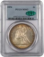 $1 1854 PCGS MS62 CAC