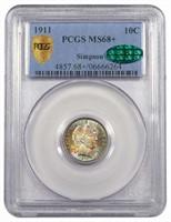 10C 1911 PCGS MS68+ CAC EX SIMPSON