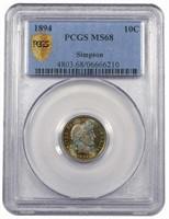 10C 1894 PCGS MS68 EX SIMPSON