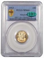 10C 1913 PCGS MS66+ CAC EX SIMPSON