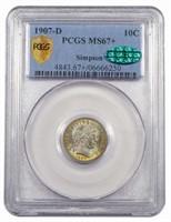 10C 1907-D PCGS MS67+ CAC EX SIMPSON