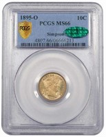 10C 1895-O PCGS MS66 CAC EX SIMPSON