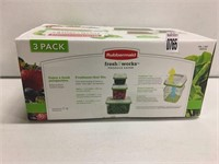 RUBBERMAID FOOD CONTAINER, 3 PACKS