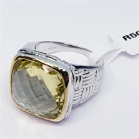 Brass Men's Lemon Topaz(12.4ct)  Ring (2 - JT165)