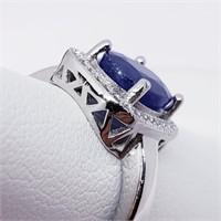 Silver Men'S Sapphire Cubic Zirconia  Ring (31 -