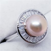 Silver Pearl Cubic Zirconia  Ring (~weight 4g)