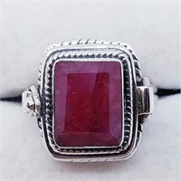 Silver Men'S Ruby Poison Ring (23 - JT165)