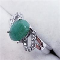 Silver Emerald Cubic Zirconia  Ring (46 - JT165)