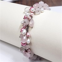 Silver Pink Pearl Charity  7.5 Inches  Bracelet