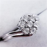 Silver Seven Diamond  Ring (~weight 2g) (25 -