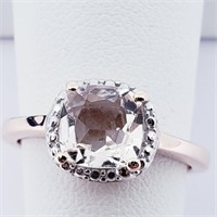 Rose Gold Plated Silver Morganite Cubic Zirconia