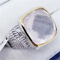 Brass Men'S Rose Quartz(12.5ct)  Ring (43 -