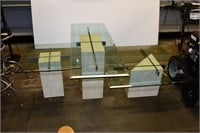 (3) Marble Base Coffee Tables with Glass Tops