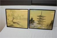 """(2) Silk Paintings 20""""x17.5"""""""