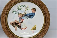 (2) Norman Rockwell Round Plates in Frame