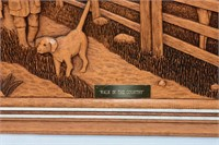 """""""Walk in the Country"""" Wood Carved Picture"""