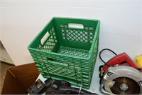 Milk Crate with Assorted Power Tools