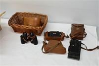 Basket with Binoculars & Vintage Cameras