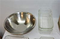 Group of Kitchen Items, Anchor Glass Pans,
