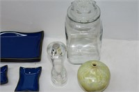 Group of Glassware, Vase, Dishes, Glass Canister,