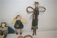 (4) Folk Art Wooden Dolls
