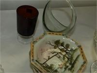 Pedestal Cake Plat, Vases, Glass Donkey Planter