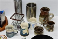 Group of Pottery, Candles, Tray, etc.