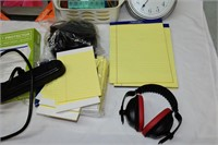 Group of Office Supplies, Clock, etc.