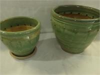 """(2) Glazed Clay Pots 13""""h X15""""w & 10""""h X11""""w"""