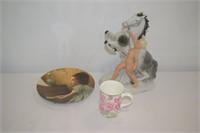 Horse & Lady Figurine, China Mug & Plate