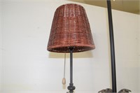 """(2) Candle Holders 39"""" & 30"""" & Table Lamp"""