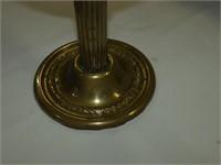 Antique Cranberry Brass Oil Lamp