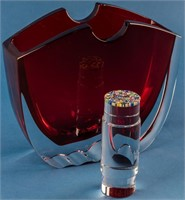 Thomas Bastide Baccarat Oceanie Red Crystal Vase