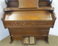 VERY NICE!!! Oak Peerless pump organ with mirror    Rowley