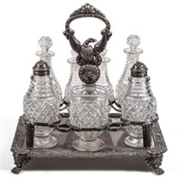 Important cut Strawberry Diamond cruet set with American Eagle stand
