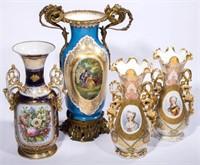 """Sample of ceramics including a 24"""" Sevres-style porcelain ormolu-mounted vase and large Old Paris porcelain vases"""