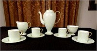 Limoges coffee set, pale green colour and gold