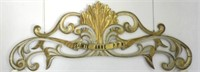 "Early 19th Century Quebec large pine wall carving ""Sainte-Anne P.P.N."", gilded with original colour"