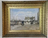"ÉMILE LOUIS VERNIER,  Returning home, oil on panel, signed, height 18"" X width 25"""