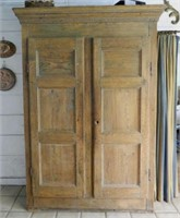 Pine armoire in the Adam style, rat-tail hinges